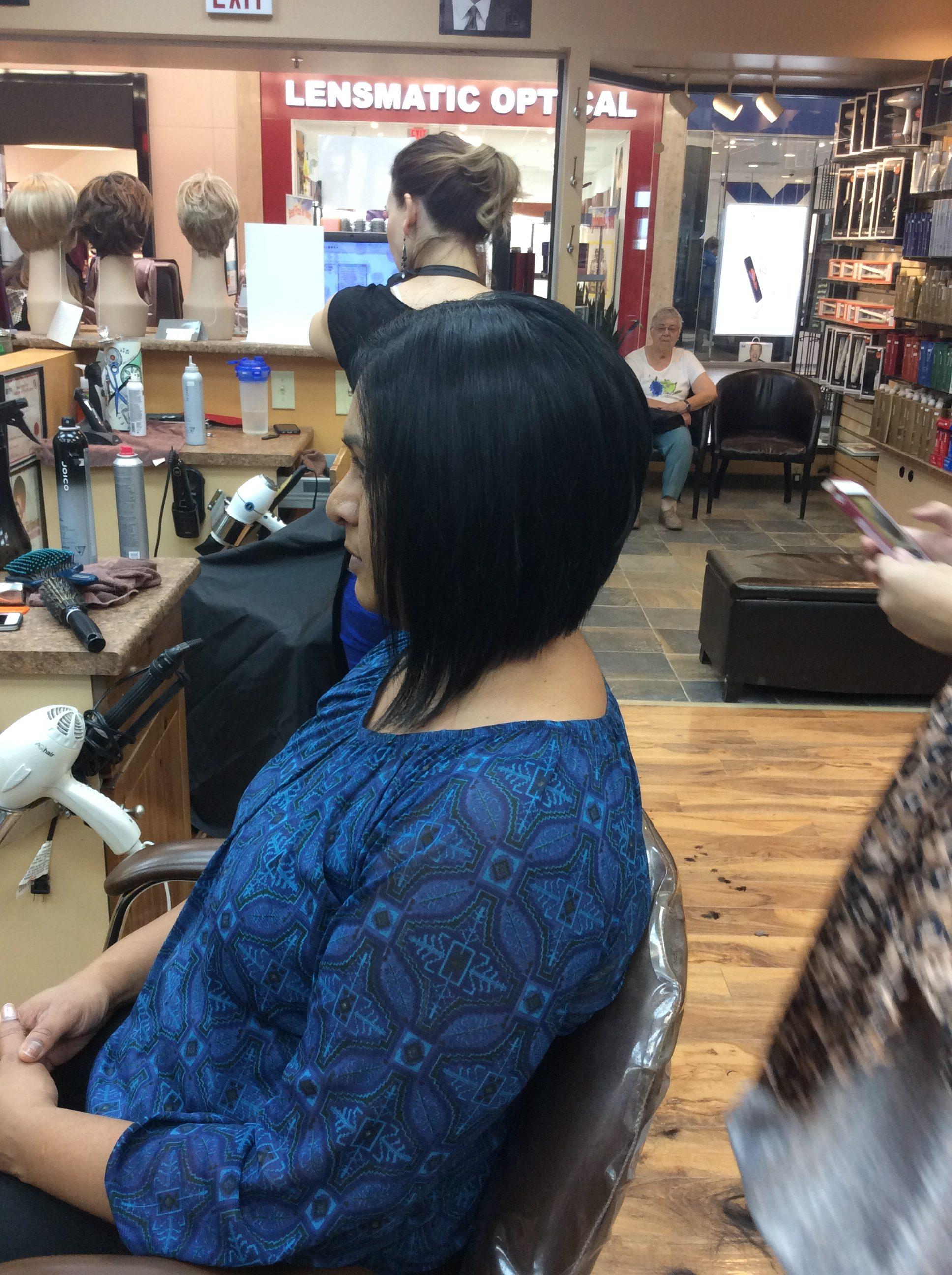 Angled bob hairstyle at hairstyle inn saskatoon
