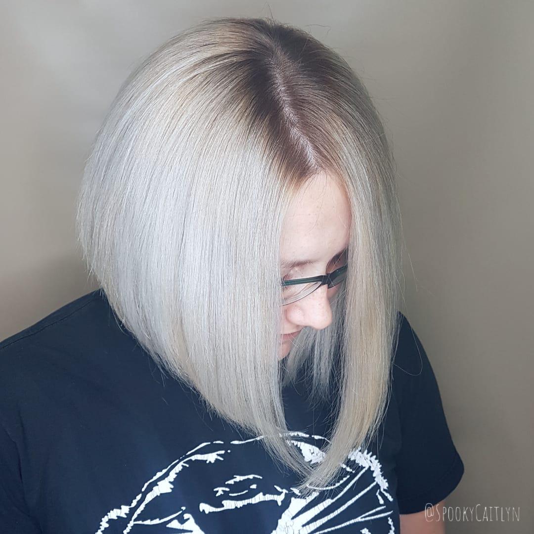 Angled haircut at hairstyle inn saskatoon