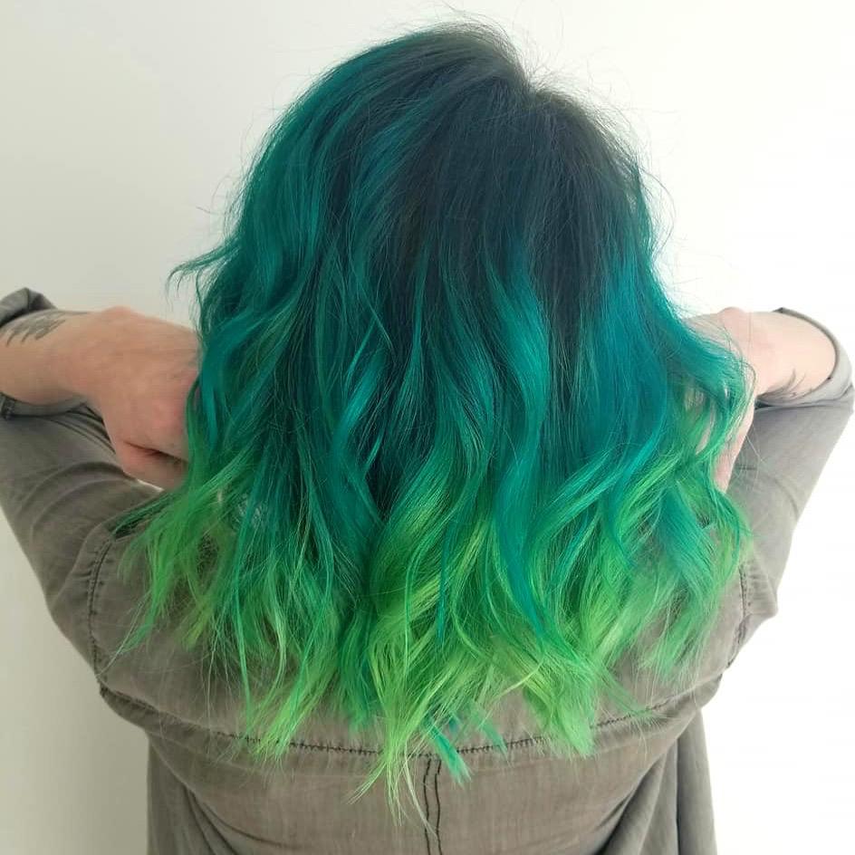 Aqua green hair at hairstyle inn saskatoon