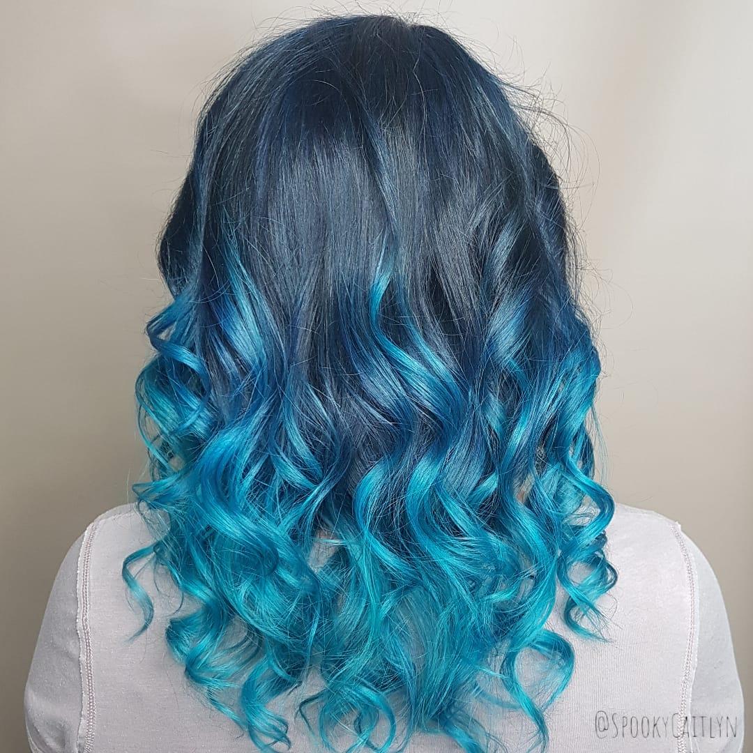 Aqua ombre at hairstyle inn saskatoon