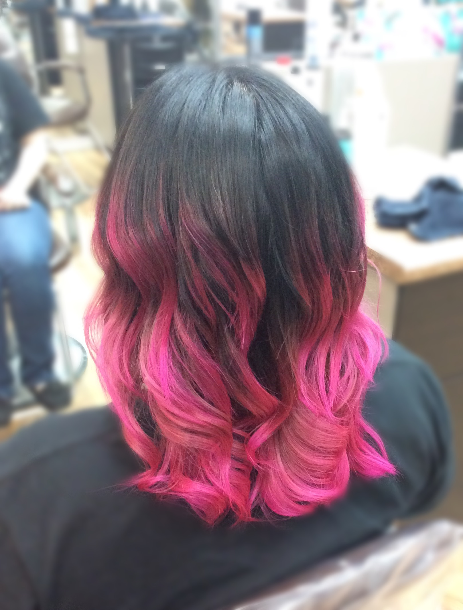 Black pink ombre at hairstyle inn saskatoon