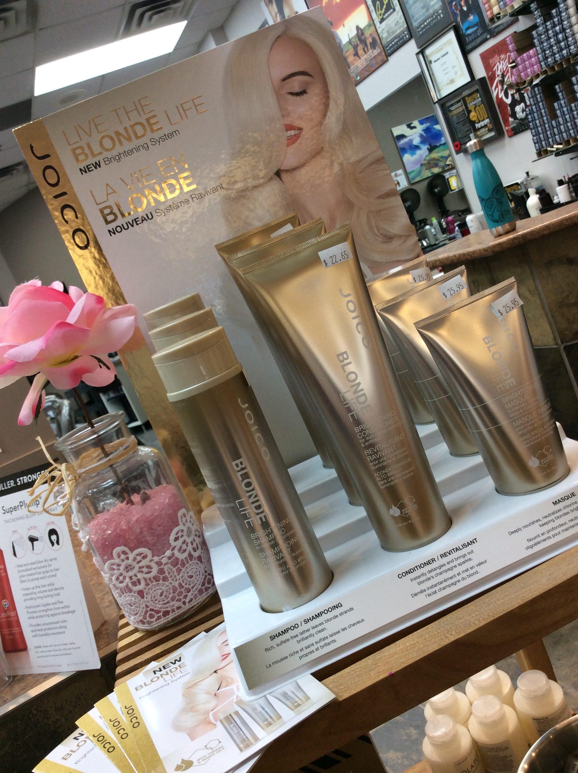 Blonde hair products displayed at hairstyle inn Saskatoon