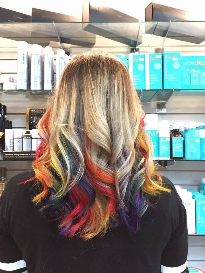 Blonde rainbow hair at hairstyle inn saskatoon