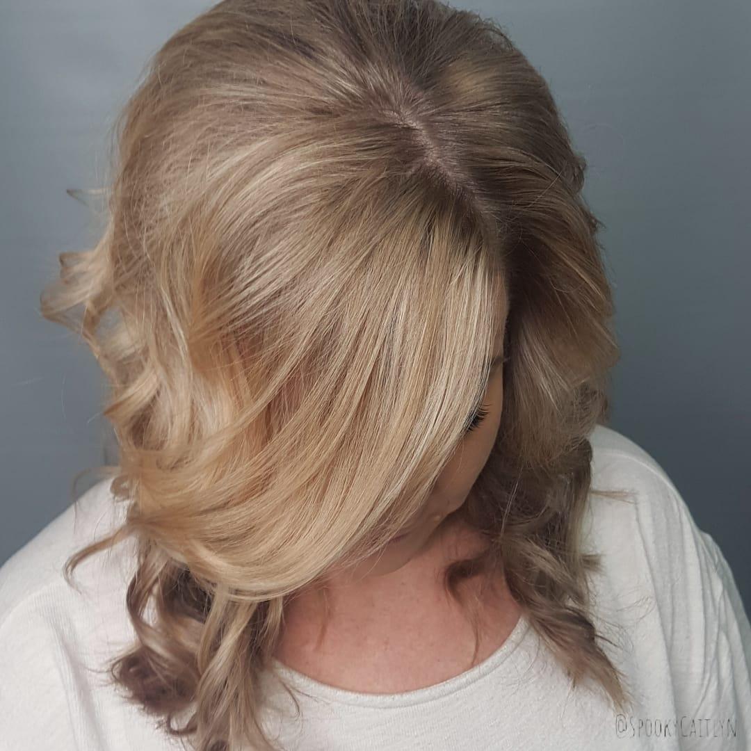 Long blonde hair at hairstyle inn saskatoon