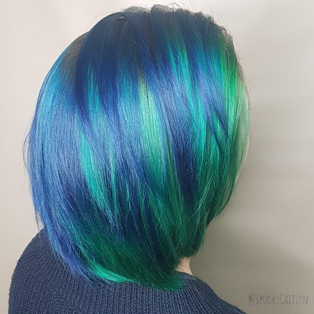 Blue green hair at hairstyle inn saskatoon