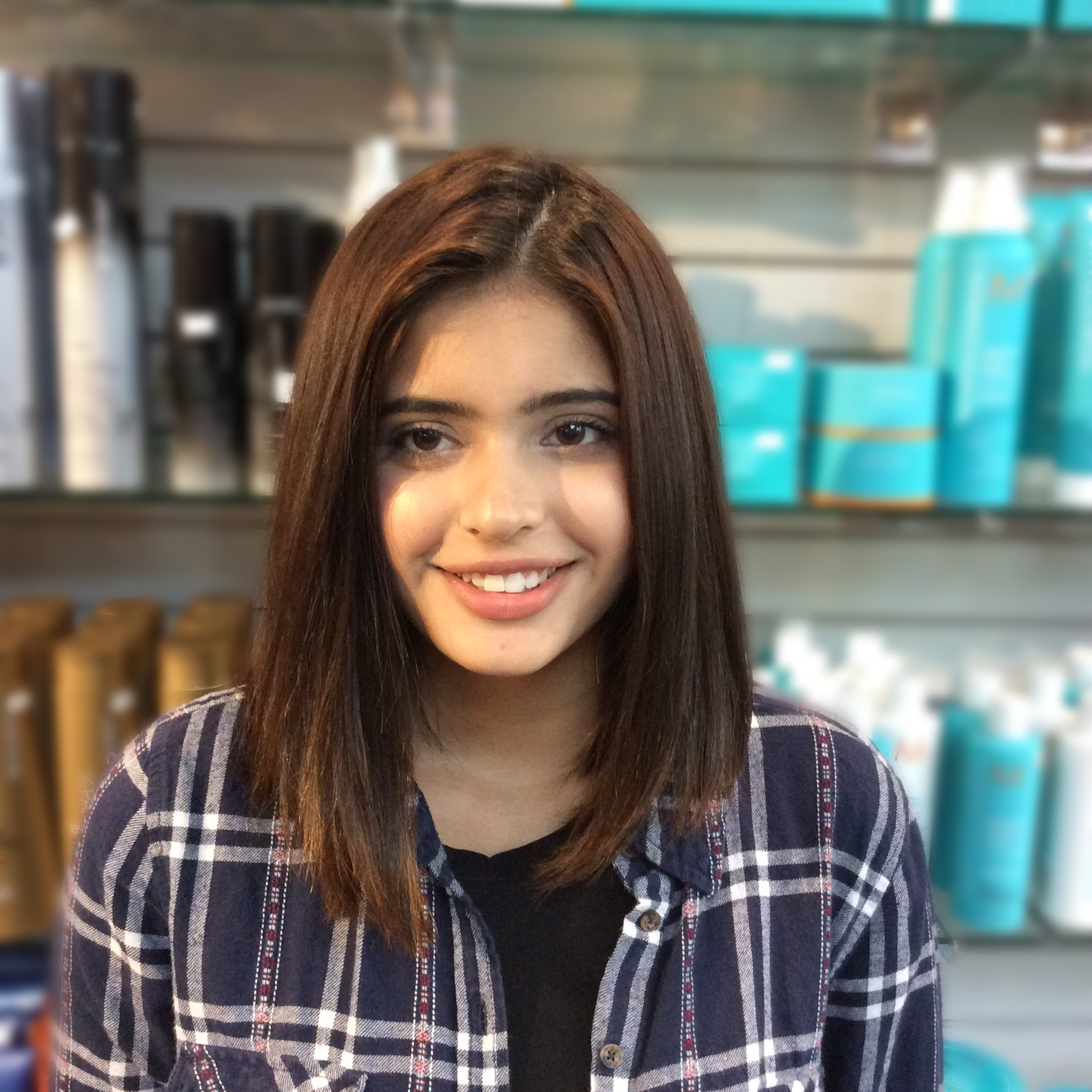 Female with blunt cut hair style at hairstyle inn saskatoon