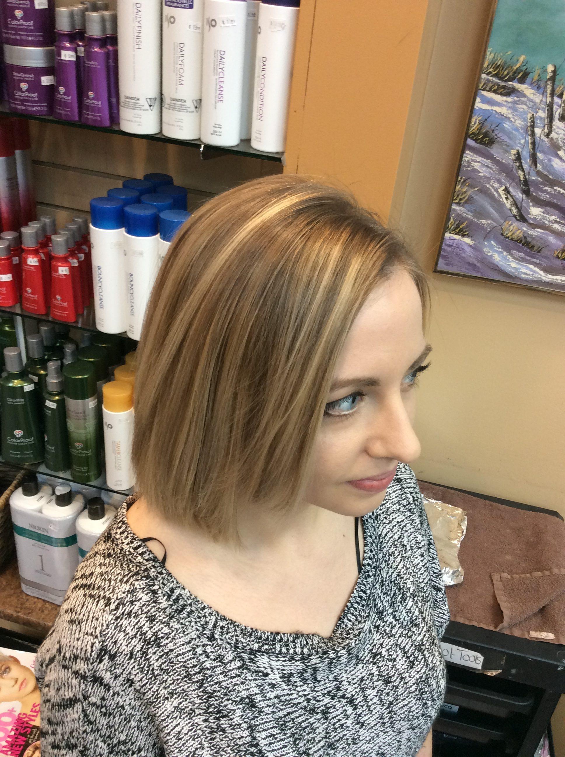 Female with Bob hair style at hairstyle inn Saskatoon