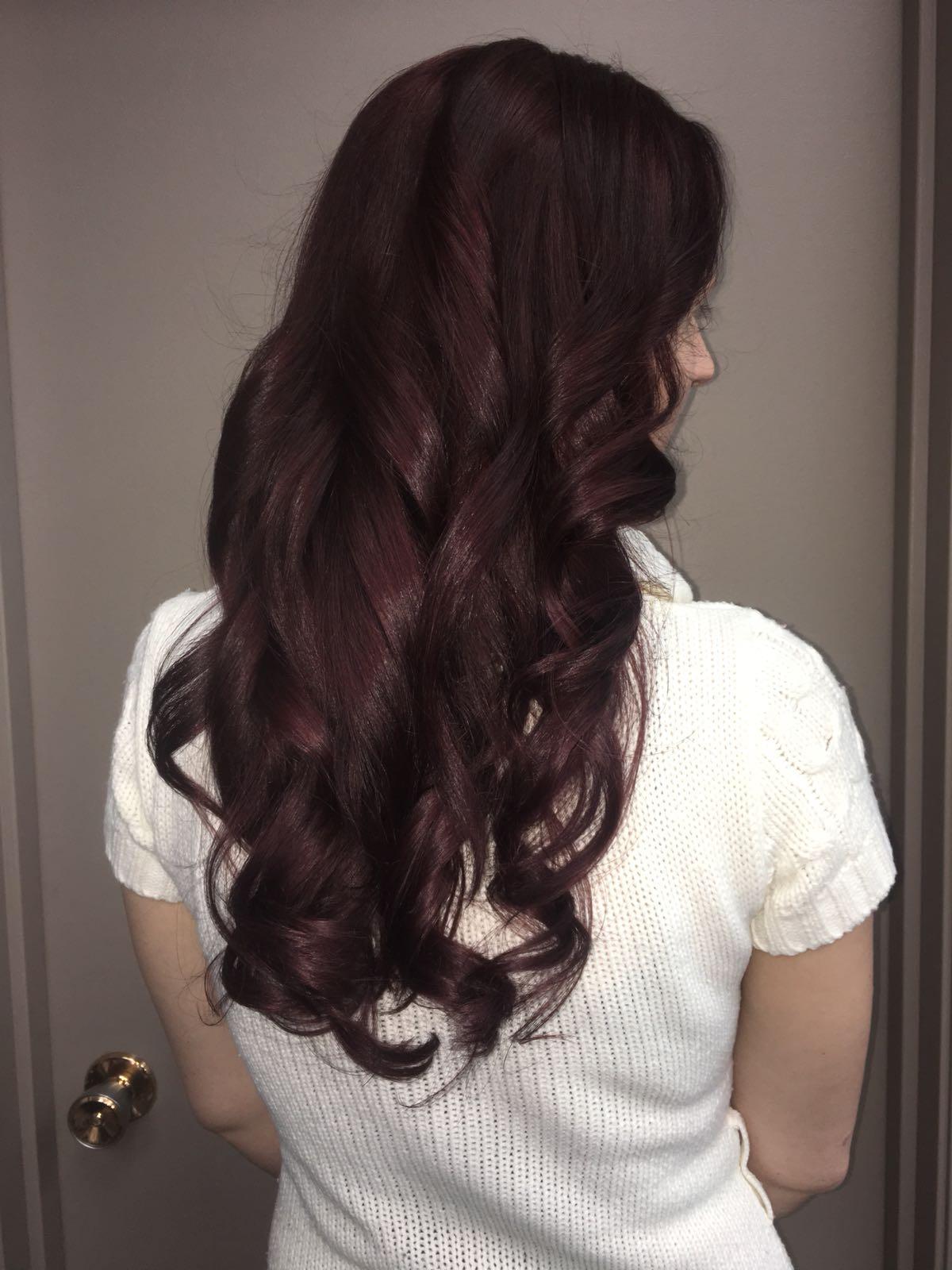 Burgundy dark hair at hairstyle inn saskatoon