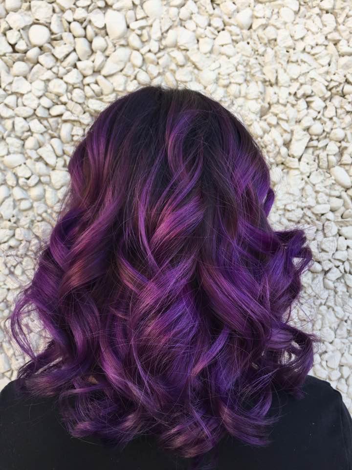Saskatoon stylist purple hair colour