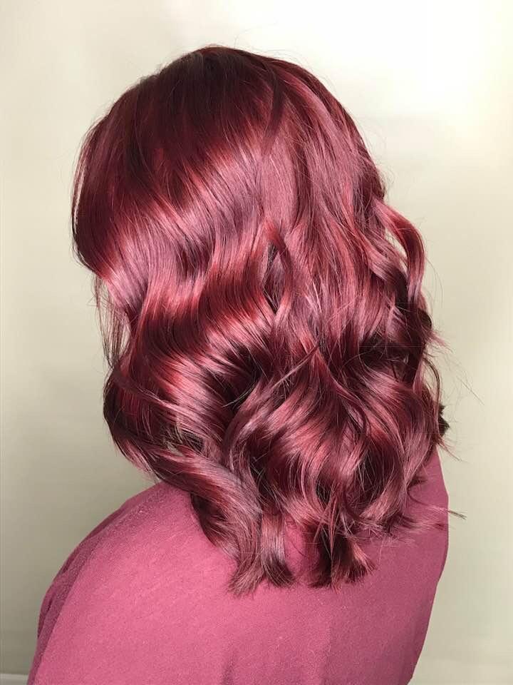 Deep red hair colour Saskatoon hairdresser