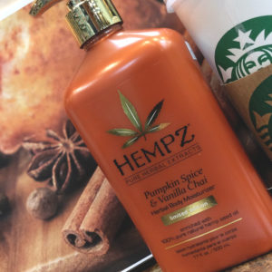 Hempz pumpkin spice and vanilla chai herbal body moisturizer
