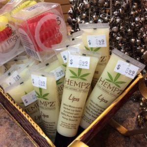 Hempz lip balm products displayed at hairstyle inn Saskatoon