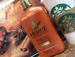 Hempz pumpkin spice and vanilla chai herbal body moisturizer displayed at hairstyle inn Saskatoon