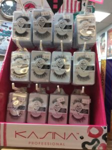 A variety of eye lashes displayed at hairstyle inn Saskatoon