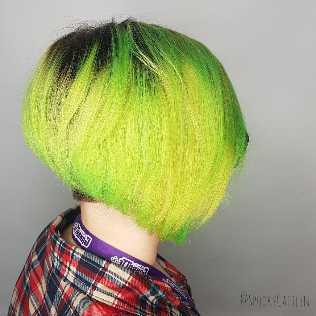 Lime green hair Saskatoon salon
