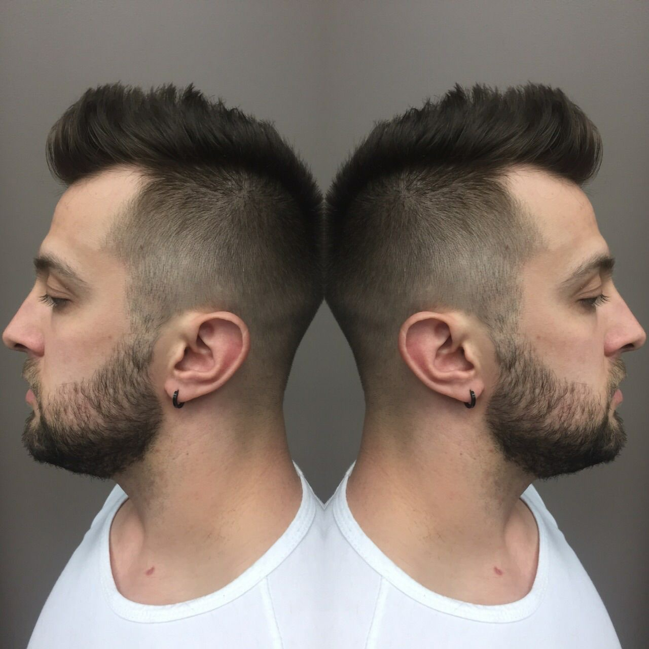 Side view head shot of a male customer at hairstyle inn Saskatoon