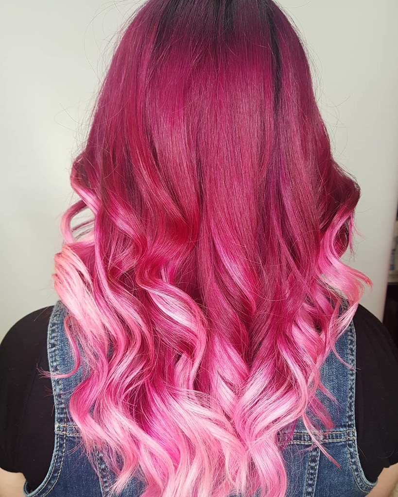 Pink ombre hairdressers Saskatoon