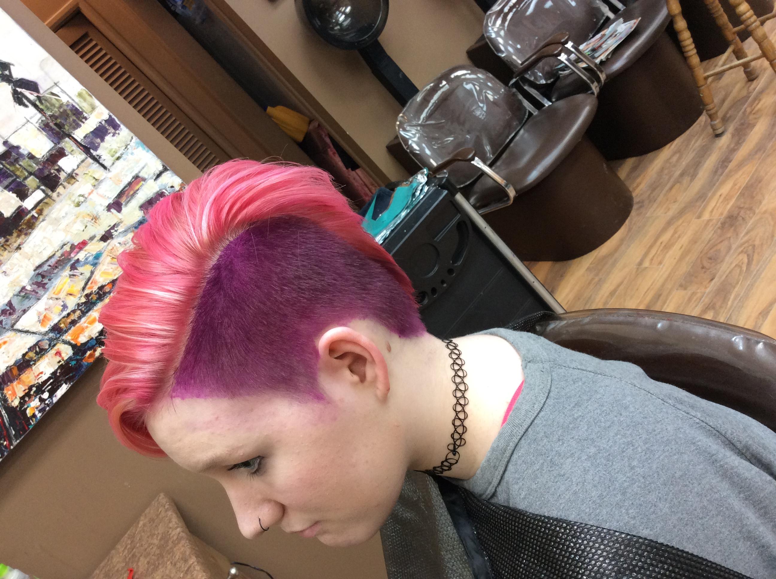 short hair neon stylist Saskatoon