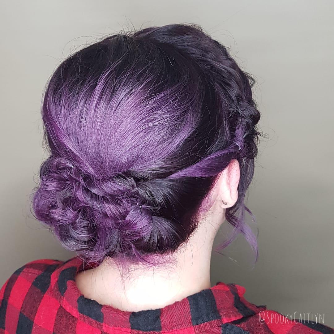 Purple up do at hairstyle inn saskatoon