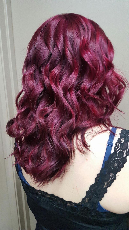 burgundy hair Saskatoon salon