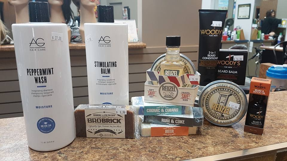 High end hair products displayed at hairstyle inn Saskatoon