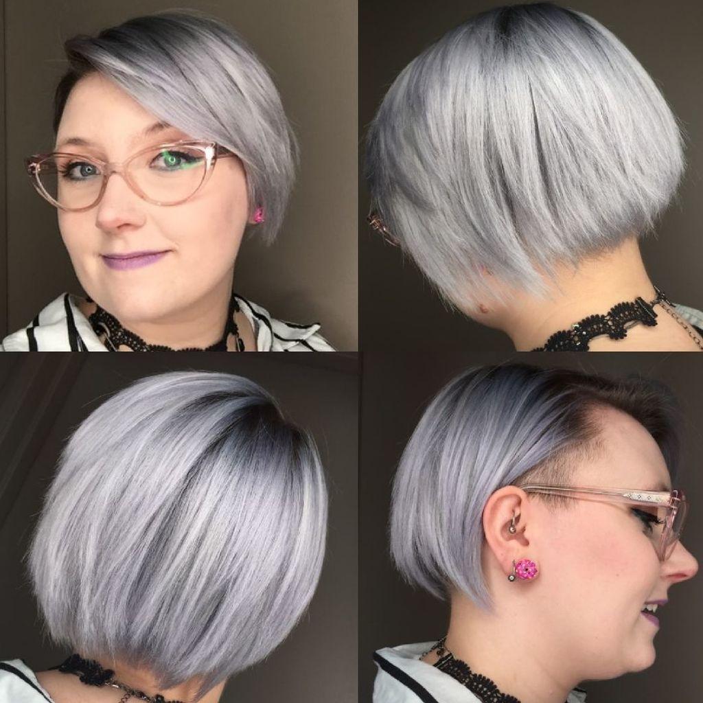 Silver purple hair at Hairstyle inn saskatoon