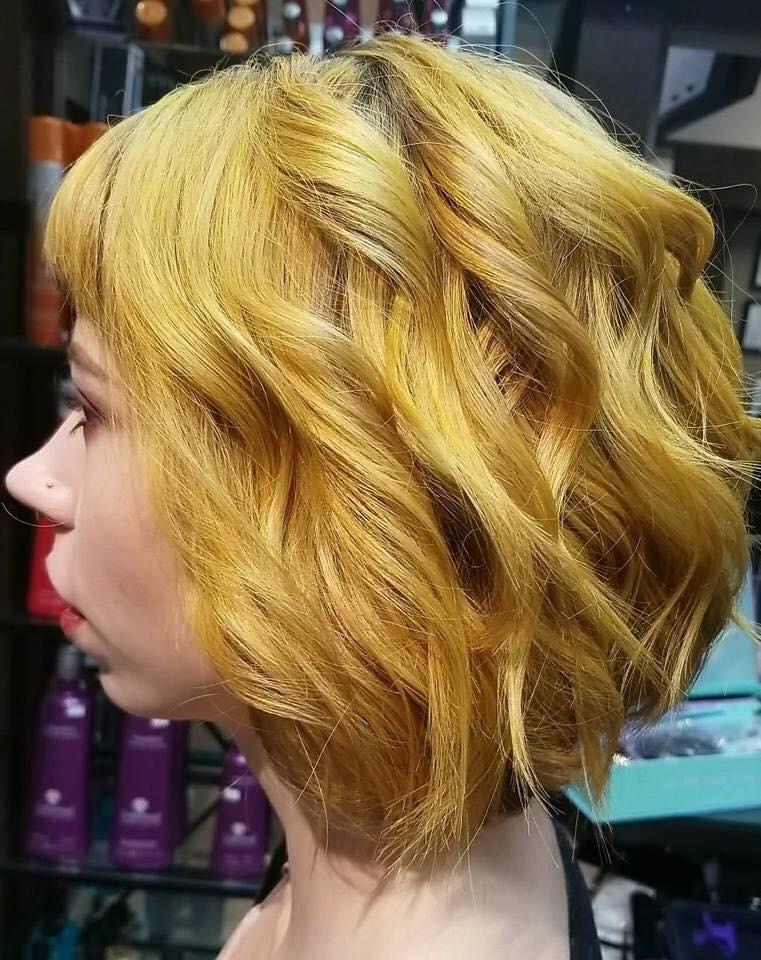 Yellow hair style Saskatoon salon